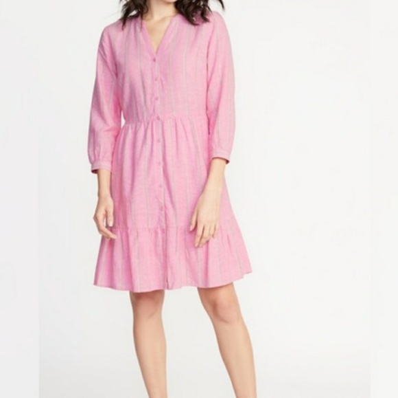 Old Navy Dresses & Skirts - Old Navy high waisted pink striped shirt dress